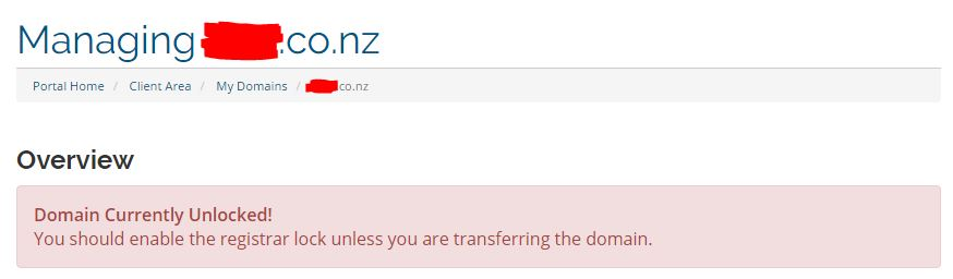 ".NZ Domain showing ""Domain Currently Unlocked!"""